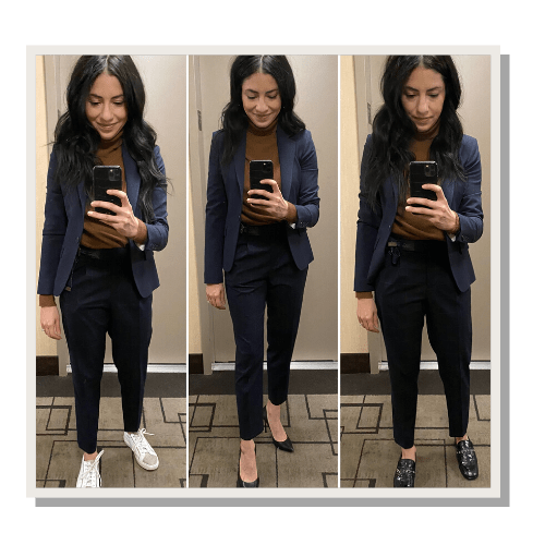 3 pictures of a woman wearing a blue blazer and navy trousers with different shoes