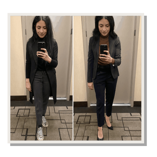 2 pictures of a woman wearing business casual and formal outfits
