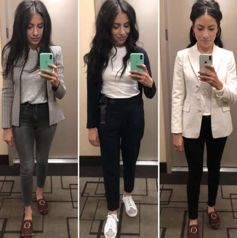 Cassandra Sethi models business casual shoes for women