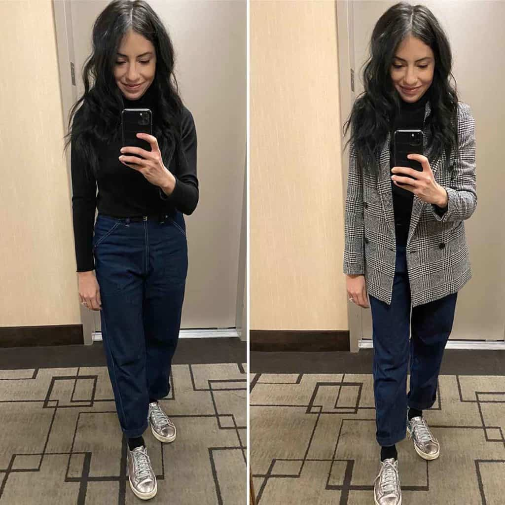 Cassandra Sethi modeling outfits for Business Casual Meetings In LA