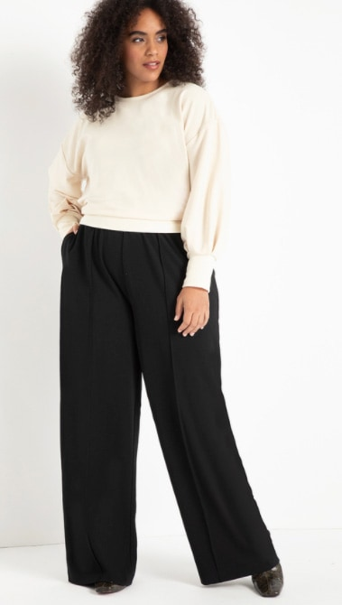 Woman Wearing Eloquii Pintuck Wide Leg Pant As An Example Of Business Casual Basics For Plus Size Women