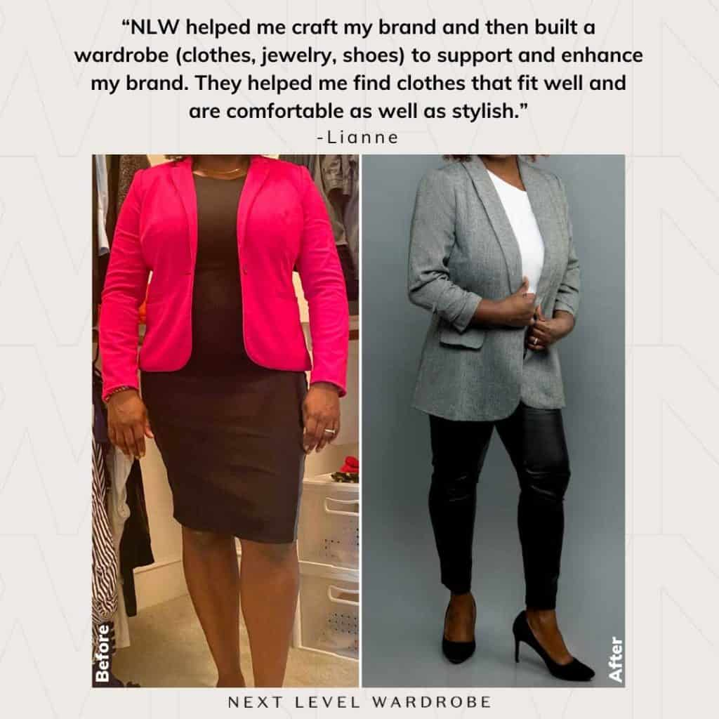 An Executive Image Consulting Client In A Black Dress And Bright Blazer And Again In Black Heels Black Leather Pants And A Blazer