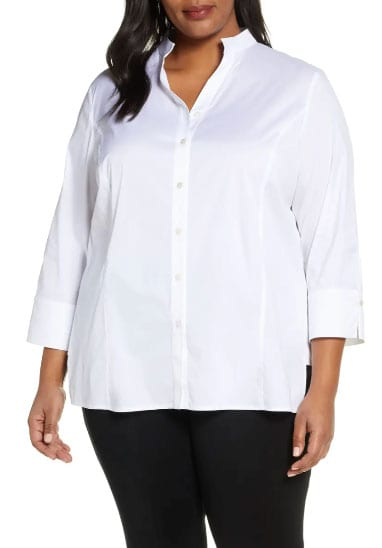 Plus Size Woman Dressed In A Business Casual Style Wearing The Ming Wang Button Front Shirt From Nordstrom