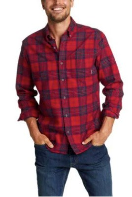 A Male Model Wearing A Red And Blue Patterned Eddie Bauer Flannel Is Not Business Casual For Men