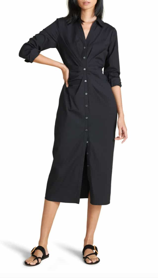 A Woman Wearing Cita Long Sleeve Stretch Cotton Shirtdress As Part Of A Work Capsule Wardrobe For Summer