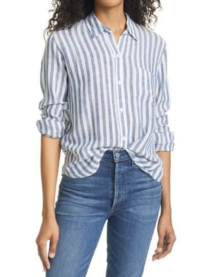 The Charli Stripe Linen Blend Blouse By Rails Is A Top In A Natural Fiber That Transitions Well From Cold To Warm Weather